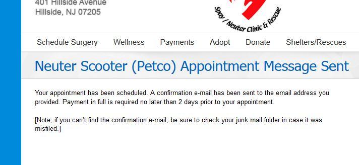 PETCO Confirmation Page